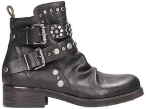 Julie Dee Studded Black Leather Boots