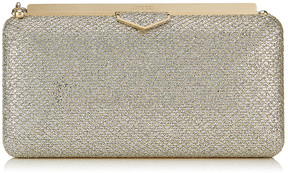 Jimmy Choo ELLIPSE Champagne Glitter Fabric Clutch Bag