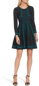 Eliza J Petite Women's Pattern Double-Knit Fit & Flare Dress