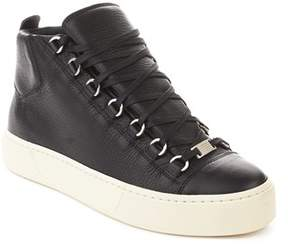 Balenciaga Men's Arena Leather High Top Sneaker Shoes Black.