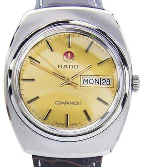 Rado Companion Stainless Steel & Leather Automatic 35mm Mens Watch 1970s