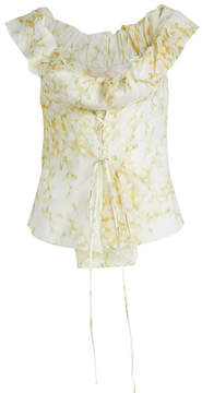 Brock Collection Tyler Floral Cotton Top with Lace-Up Front