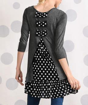 Celeste Gray Black Dot-Contrast Ruffle Bow-Back Tunic - Women