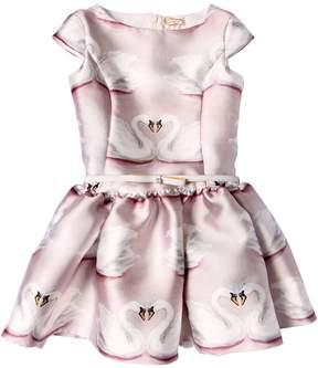 MonnaLisa Swan Printed Mikado Party Dress