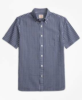 Brooks Brothers Check Cotton Seersucker Short-Sleeve Sport Shirt
