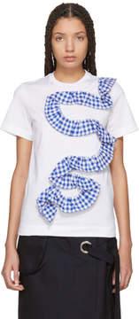 Facetasm White Gingham Ruffle T-Shirt