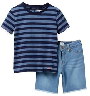 Hudson Stripe Jersey & Frayed Shorts Set (Toddler Boys)