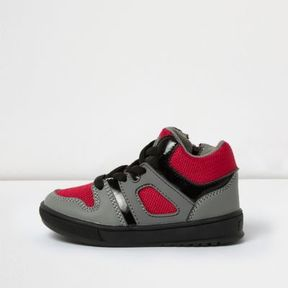 River Island Mini boys red sports hi tops