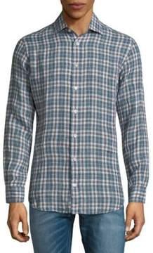 Luciano Barbera Plaid Linen Button-Down Shirt