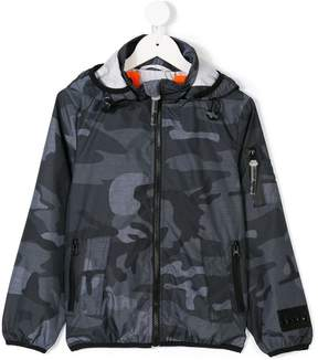 Diadora Junior camouflage print hooded jacket