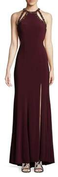 Betsy & Adam Embellished Floor-Length Gown