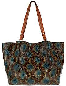 Dooney & Bourke As Is City Python-Embossed Leather Flynn Shoulder Bag