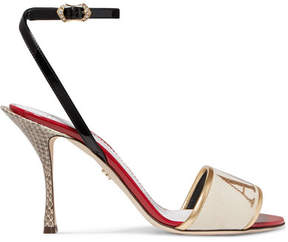 Dolce & Gabbana Embroidered Velvet, Leather And Watersnake Sandals - Gold