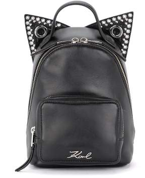 Karl Lagerfeld Rocky Mini Black Leather Backpack With Cat Ears