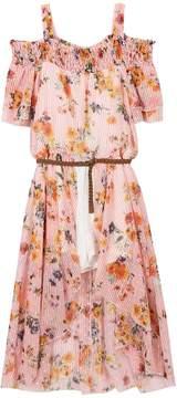 Speechless Girls 7-16 Floral & Striped Cold Shoulder Belted Walkthrough Dress