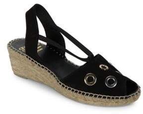 Andre Assous Delicate Grommet Accented Leather Espadrilles Slingback Sandals