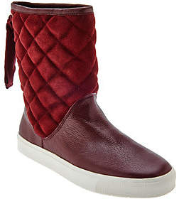 Isaac Mizrahi Live! SOHO Quilted Boots withBack Ribbon Dtl
