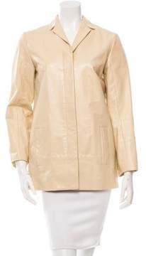 Calvin Klein Collection Notch Lapel Leather Coat