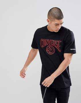 Converse T-Shirt With Globe Print In Black 10006750-A02