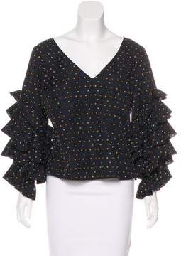 Caroline Constas Flocked Long Sleeve Top