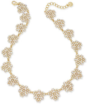 Charter Club Gold-Tone Crystal & Imitation Pearl Cluster Collar Necklace, 17 + 2 extender, Created for Macy's