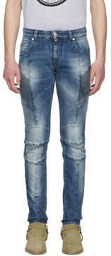 Pierre Balmain Blue Washed Biker Jeans