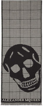 Alexander McQueen Black and Off-White Oversized Skull Scarf