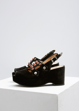Toga Black Velvet Studded Creeper Sandal