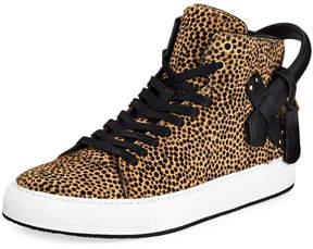 Buscemi Men's 100mm Leopard Calf Hair High-Top Sneakers