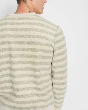 7 For All Mankind Long Sleeve Striped Crewneck Sweatshirt in Oatmeal