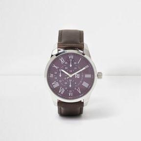 River Island Mens Brown strap purple round face watch