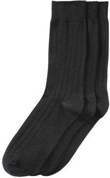 Joe Fresh Men's 3 Pack Ribbed Crew Socks, Black (Size 10-13)