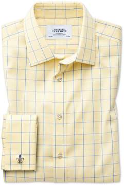 Charles Tyrwhitt Classic Fit Non-Iron Prince Of Wales Yellow and Royal Blue Cotton Dress Shirt French Cuff Size 15/35