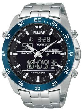 Pulsar Men's Digital & Analog Chronograph - Silver Tone with Black Dial - PW6013