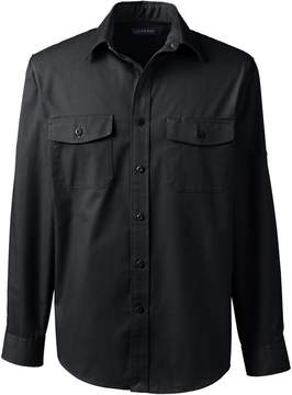 Lands' End Lands'end Men's Long Sleeve Straight Collar Work Shirt