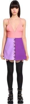 Fausto Puglisi Wool Crepe Mini Dress W/ Lace-Up Detail