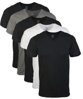 Gildan Men's short sleeve V-neck assorted color t-shirt, 5-pack