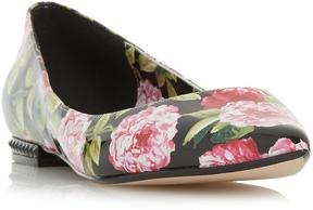 Dune London HARMONIE - BLACK LIMITED EDITION - Floral Print Pointed Flat Shoe