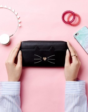 New Look Cat Zip Around Purse