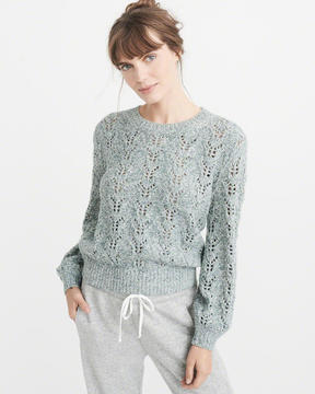 Abercrombie & Fitch Puff Sleeve Crew Sweater