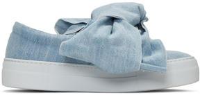 Joshua Sanders Blue Denim Bow Double Slip-On Sneakers