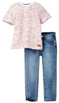 7 For All Mankind Short Sleeve Crew Neck Tee & Jean Set (Toddler Boys)