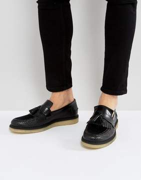 Fred Perry X George Cox Creeper Tassel Leather Shoes in Black