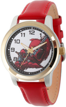 Marvel Mens Deadpool White Dial Red Leather Strap Watch