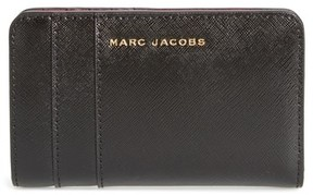 Marc Jacobs Women's Saffiano Leather Compact Wallet - Black - BLACK - STYLE