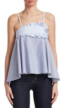 Carven Striped Ruffle Top