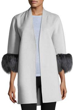 Neiman Marcus Luxury Cashmere Cocoon Jacket w/ Fox Fur Cuffs