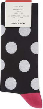 Bjorn Borg Contrast polka dot cotton-blend socks