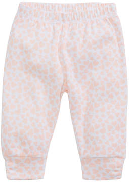 First Impressions Heart-Print Ruched Cotton Jogger Pants, Baby Girls, Created for Macy's