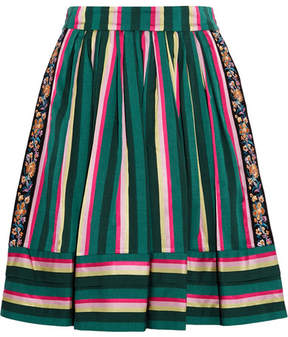 Etro Striped Embroidered Poplin Skirt - Green